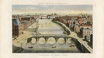 View of Paris the Capital of France, 1791, Kolorierter Kupferstich von Eastgate (Ausschnitt)